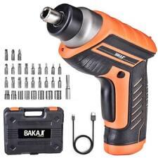 Bakaji 02833116 Kit Avvitatore Mini Cacciavite Elettrico con 32 Punte e LED - Arancione/Nero