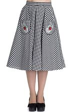 Hell Bunny Ladybird Check Vintage Retro Rockabilly 50s Skirt Pockets Flare Swing
