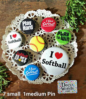 8 Pinback Softball Pins * Buttons Badges Gift * New in Pkg USA New * DecoWords