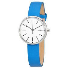 Skagen Signature White Dial Ladies Blue Leather Watch SKW2597