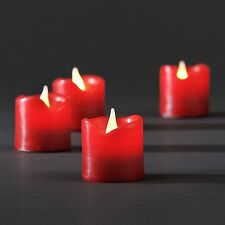4 Christmas Small  4.5cm Red Wax LED Flickering Battery Candles