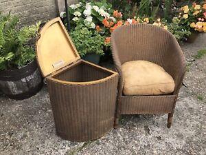 Lloyd Loom Lusty Chair And Washing Basket. Original. Genuine. Gold Colour.