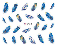 Nail Art Sticker Water Decals Transfers Blue Pink Feathers (E434)