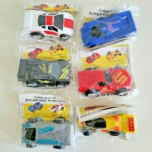 """1989 Burger King Record Breakers 4"""" Toy Cars Complete Set Sealed Hasbro"""