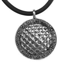 Phil 4:13 Golf ball Necklace Antique Silver  (SPGRUB)