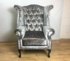 Champagne Crushed Velvet Queen Anne Wing Chair - black legs