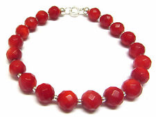 Red Coral Bracelet, Sterling Silver Bracelet, Semi-precious Gemstone Beads 7.5in