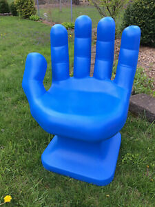 """Royal Blue left HAND SHAPED CHAIR 32"""" tall adult 70's Retro EAMES iCarly NEW"""