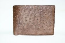 Double Sided Genuine Ostrich Skin Leather Men's Bifold Wallet Dark Brown