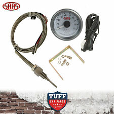 SAAS Exhaust Temp Pyro Gauge White Face 0-900 52mm Multi Colour + Sender & Kit
