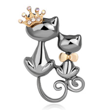 Cats Wedding Women Brooch Pin Jewelry Vintage Alloy Crystal Crown Bow Tie Double
