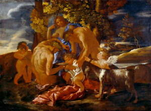 Nicolas Poussin The Nurture of Bacchus Giclee Paper Print Poster Reproduction