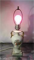 Vintage 50's Electric Lamp Body, Ceramic, White with Colonial Couple Pattern