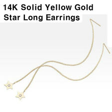 TPD Solid 14K Yellow Gold Star Threader Long Drop Dangle a Pair of Earrings