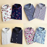 Women's Vintage Loose Long Sleeve Cotton Casual Floral Shirt Tops Fashion Blouse