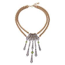 N228 Brigitte Chandelier Pendant Necklace Antique Silver Art Deco Peridot Green
