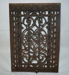 "Antique Cast Iron Victorian Heat Grate WALL Register 9.5X13.5"" Vtg Old/not floor"
