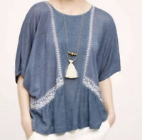Anthropologie Akemi Kin Womens S Small Linen Top Dolman Embroidered Blue White!