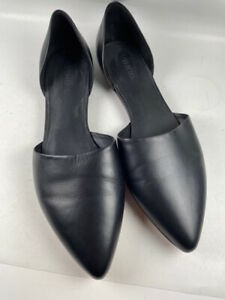 NEW Vince Nina Black Leather D'Orsay Flats Size 8.5M US EU 39.5 NWOB Retail $295