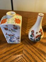 Franklin Porcelain Mini Japanese Miniature Vase lot of 2 1983 Vintage Collection