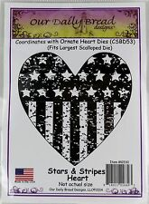 Stars Stripes Heart Cling Rubber Stamp Our Daily Bread NEW patriotic us flag art