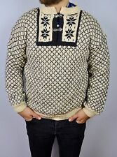 HANDMADE Wool Norwegian Pattern Clasps Jumper Norway Mens Small Sweater Nordic S