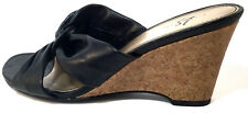 LIFE STRIDE Womens Black Wedge Cork High Heels Sandals Shoe Size 7 W