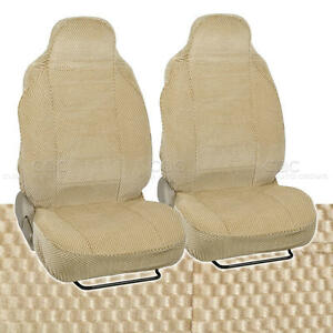 Beige Car Seat Covers 2pc Checkered Cloth Scottsdale style Premium High Back