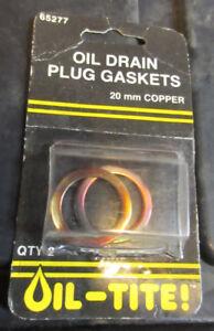 Set of 2 - Oil-Tite 65277 20mm Copper Oil Drain Plug Gasket 095023 095-023 Honda