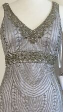 🛑 SUE WONG 1920's GATSBY Platinum Silver Beaded Bridal Cocktail Dress 12