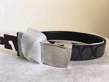 NWT Coach Mens Dress Plaque Cut-to-Size Reversible Signature Canvas Belt F64828