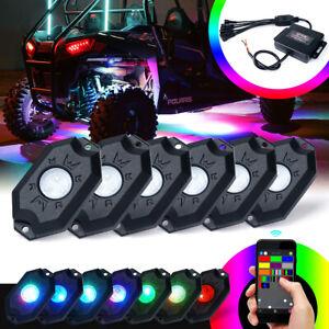 6 Pods RGB LED Rock Lights Underglow Lighting System for Off Road Trucks ATV UTV