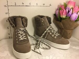 Sam Edelman Luther High Top Sneaker Women Sz 8 Putty Faux Shearling Suede 3076