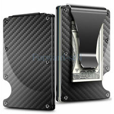 Credit Card Holder Carbon Fiber Case Slim RFID Metal Wallet Money Clip Wallet