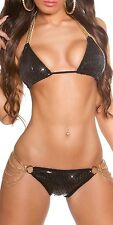 GLAM GIRL Sequin Padded Top & Scrunched Bikini Swimsuit Swimwear - S/M/L
