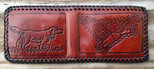 Old Leather Hunter Wallet/Billfold Hunting Dog & Duck--Unused