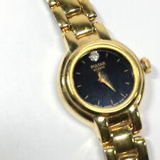 Pulsar Ladies Watch Black Analog Gold Tone Diamond Accent V810-0450