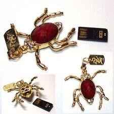 USB STICK 4GB Estrás Colgante decorativo araña rojo ORO ENCANTOS DE JOYERÍA
