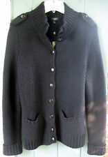 Talbots Black Heavy-Weight Winter Cardigan Sweater Jacket Coat X PLUS Cable Knit