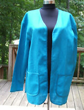 new in pkg Newport News Styleworks  turquoise linen blend dressy jacket small