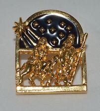 Gold Tone Metal Mary & Joseph Night Sky Brooch Lapel Pin