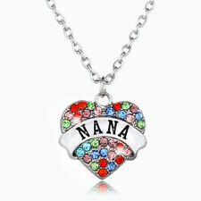 Family Gift Multicolor Crystal Heart NANA Fashion Pendant Necklace Jewelry New