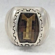 Beautiful Micheal Dawkins Sterling & Faceted Smokey Topaz Stone Ring - Size 8