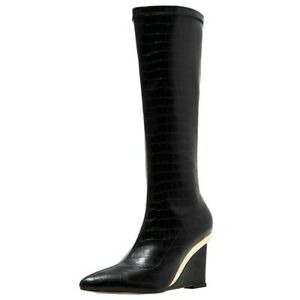 Fashion Women's Pointed Toe PU Leather Knee High Boots Side Zip Wedge Heels New