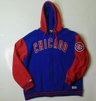 Stitches Men XL Chicago Cubs Hoodie Sweatshirt Full Zip Baseball MLB Big Logo