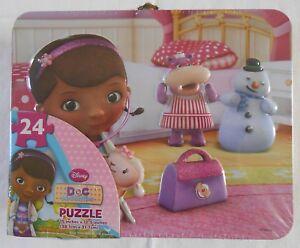 """Puzzle Lunch Box Disney DOC MCSTUFFINS 24 Pieces Jigsaw Tin 15""""x12.5"""""""