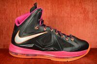 WORN TWICE Nike Lebron X 10 Floridian Size 8.5 Black Fireberry black 541100 005