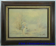 Original Oil on Canvas Landscape Scene Victorian Lady Southern Bell creek Snow