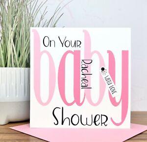 Personalised Handmade Baby Shower Card, Pink, Blue