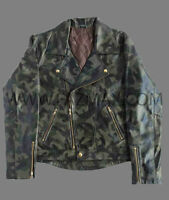 Men's camouflage  MOTOR BIKER Genuine SHEEP/Lambskin CAMO Leather Jacket
